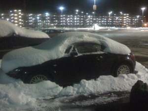 "Sean's ""surprise"" upon returning home to the NH airport at midnight - 12"" of snow on my car."